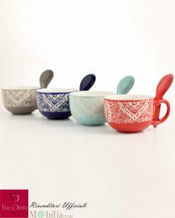 tazze colazione colori assortiti con cucchiaini marocco villa deste