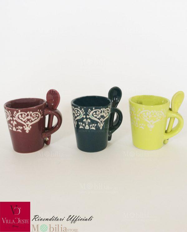 Tazzine da Caffè Ceramica Cuori Mykonos Villa D'Este
