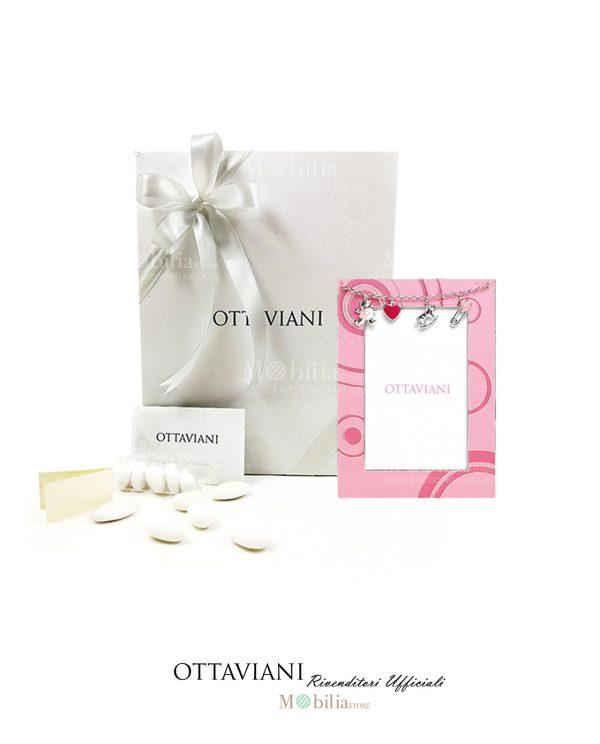 bomboniera cornice rosa con charms argento smaltato ottaviani