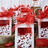 bomboniera lanterna portacandele cuore con sacchetto nastro rosso e coccinella