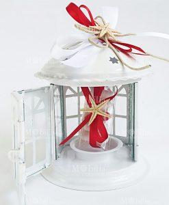 bomboniera lanterna pagoda metallo intagliato con nnastri rossi e bianchi e stella marina naturale