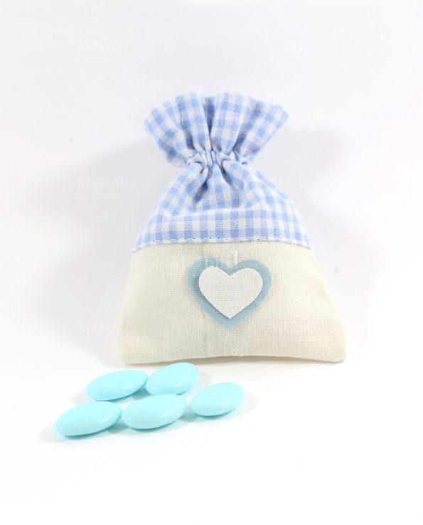 Sacchetti Portaconfetti Azzurri Juta con Cuore