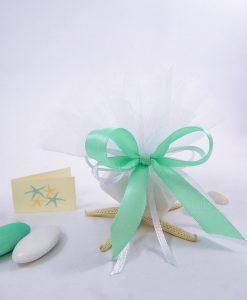 sacchettino in doppio tulle bianco confezionato con nastro tiffany