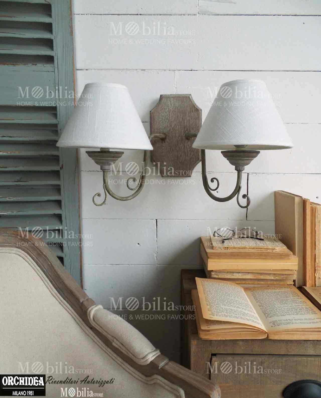 Applique da parete legno due fiamme in offerta mobiliastore for Applique da parete legno