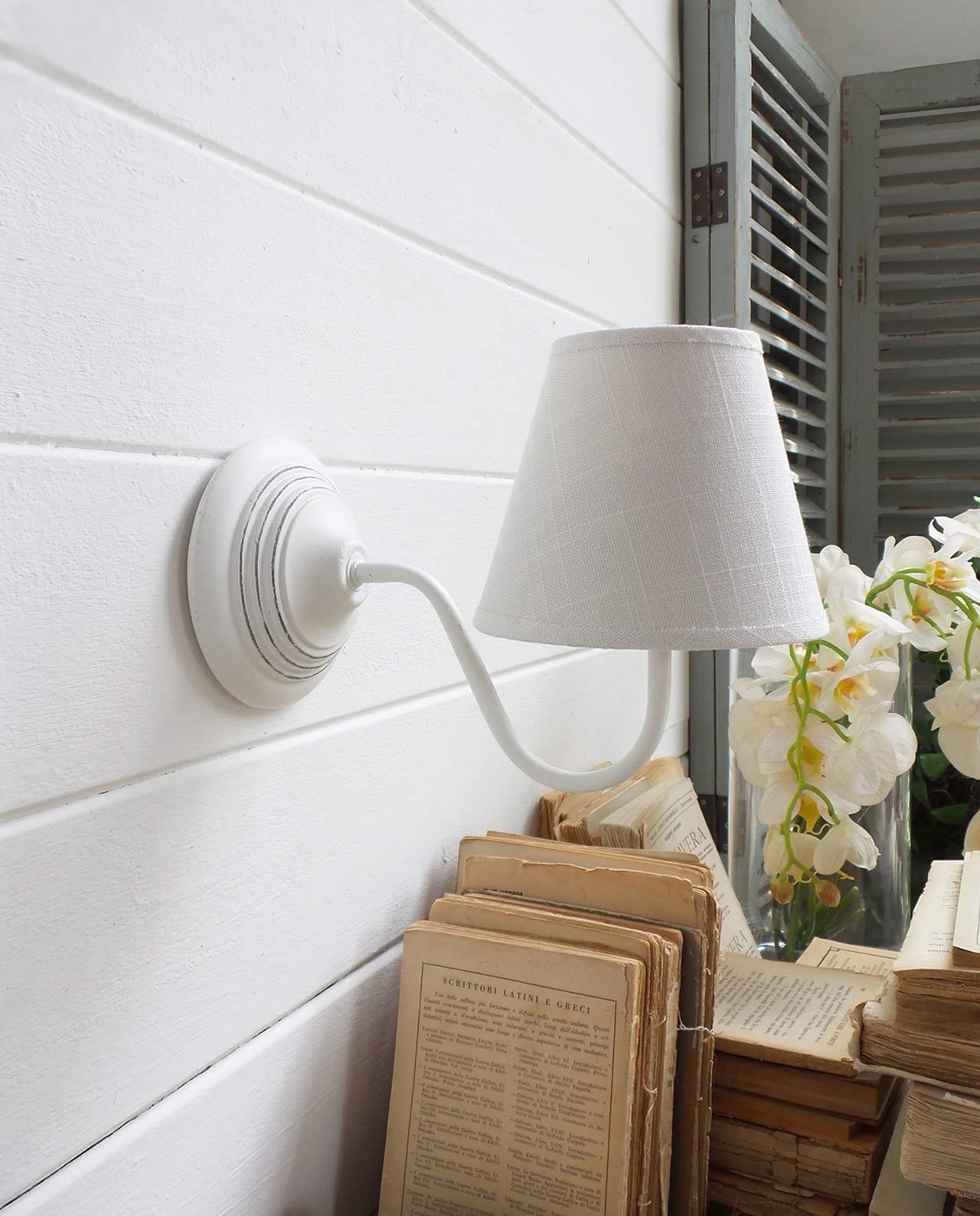 Applique tonda in legno bianco set 2 pz mobilia store for Applique da parete legno
