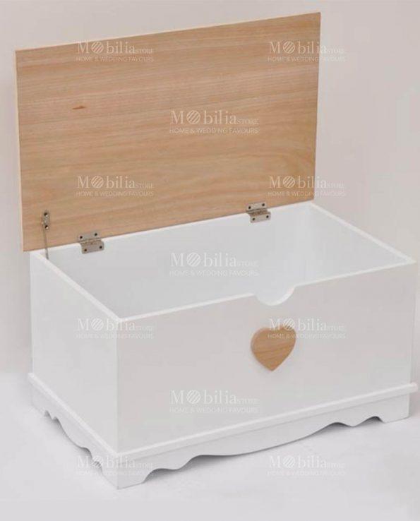 Baule legno con cuore Set 2 pezzi