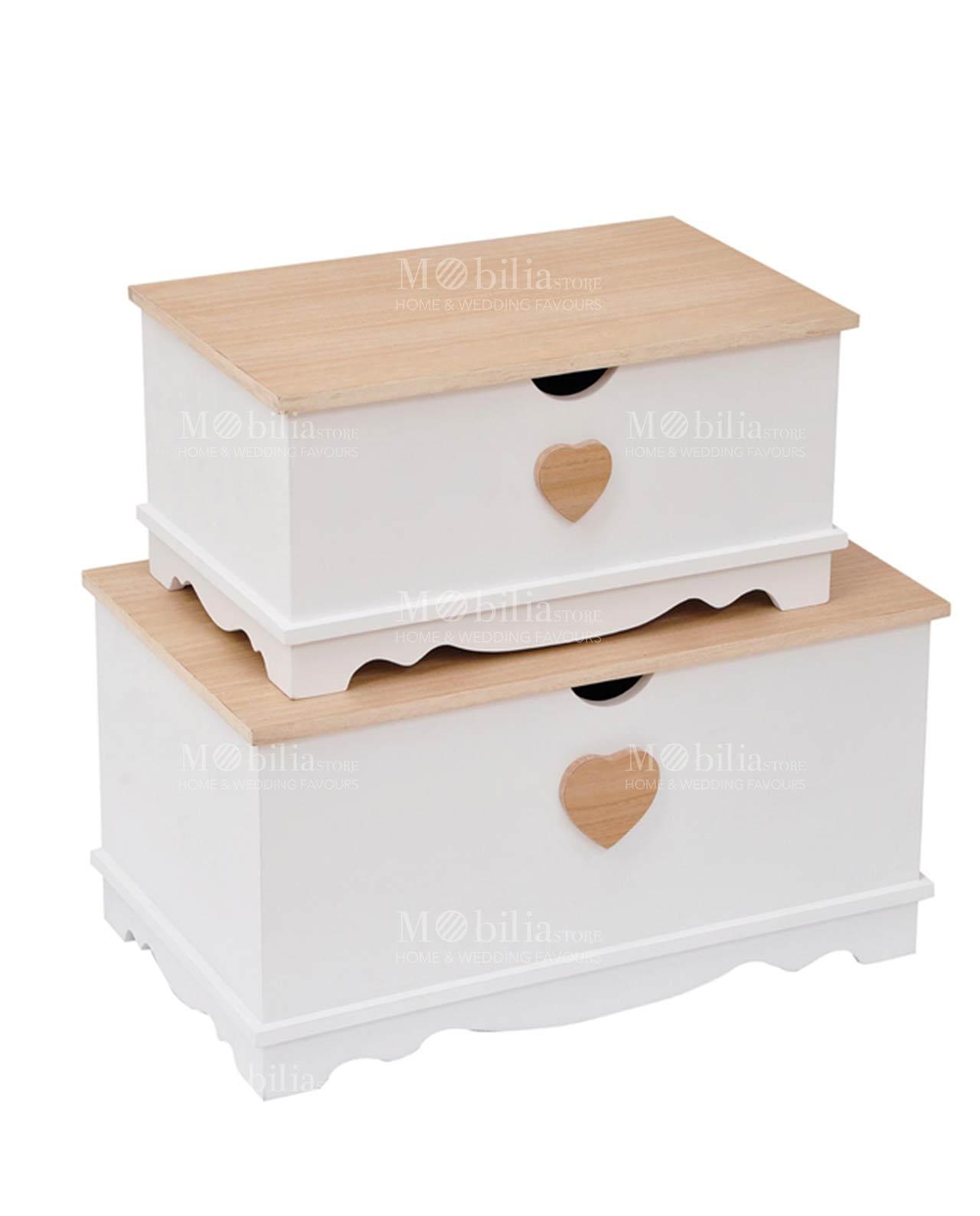 Baule legno con cuore Set 2 pezzi - MobiliaStore