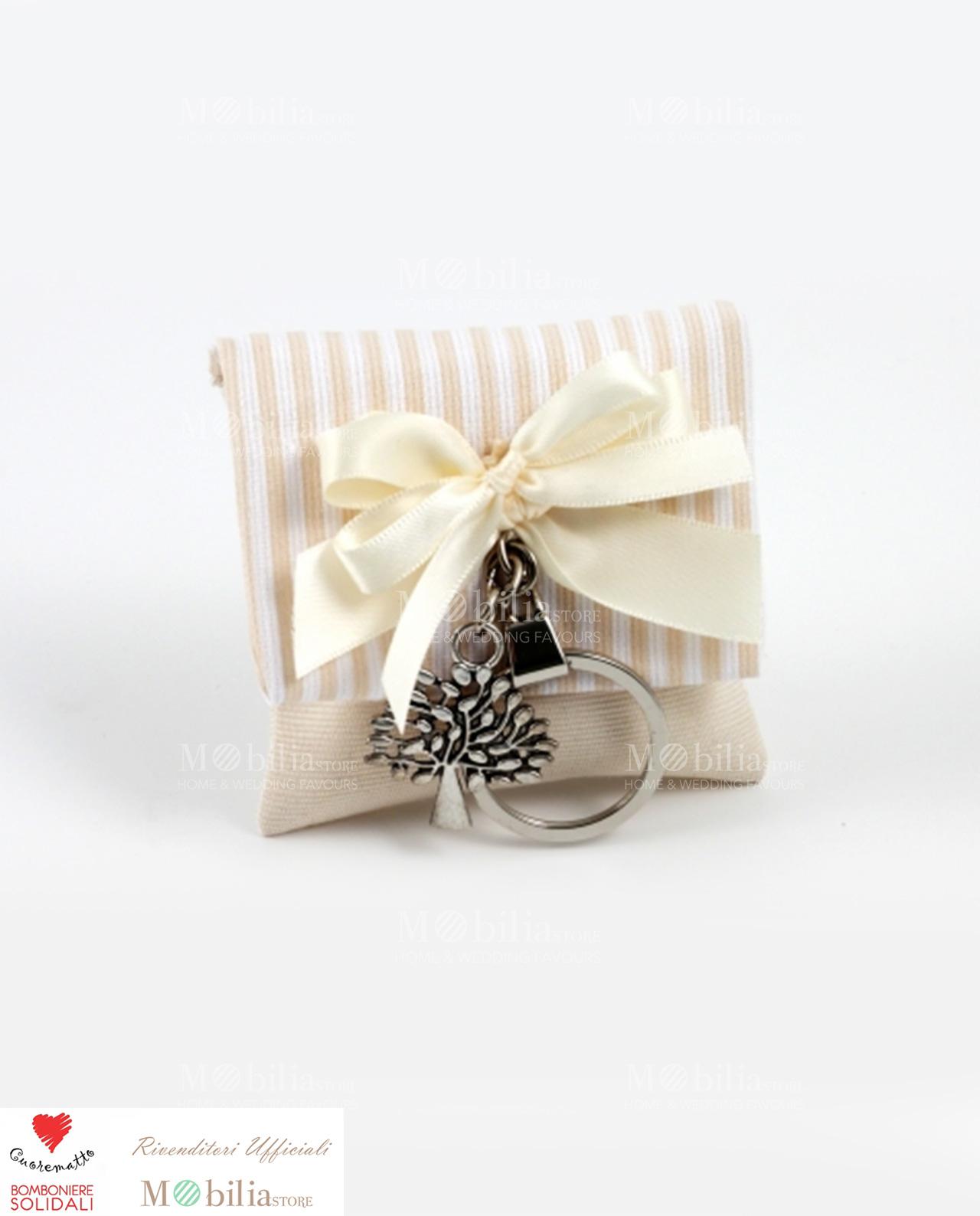 Matrimonio In Nero E Bianco : Sacchetto solidale cuorematto con portachiavi albero della