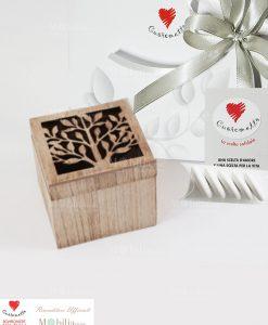 Bomboniera scatolina legno albero della vita Cuorematto