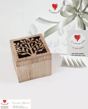 Bomboniere Solidali Scatolina legno Albero della vita Cuorematto