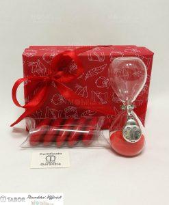 bomboniera clessidra sabbia rossa con ciondolo coccinella argento tabor con scatola e nastro rosso