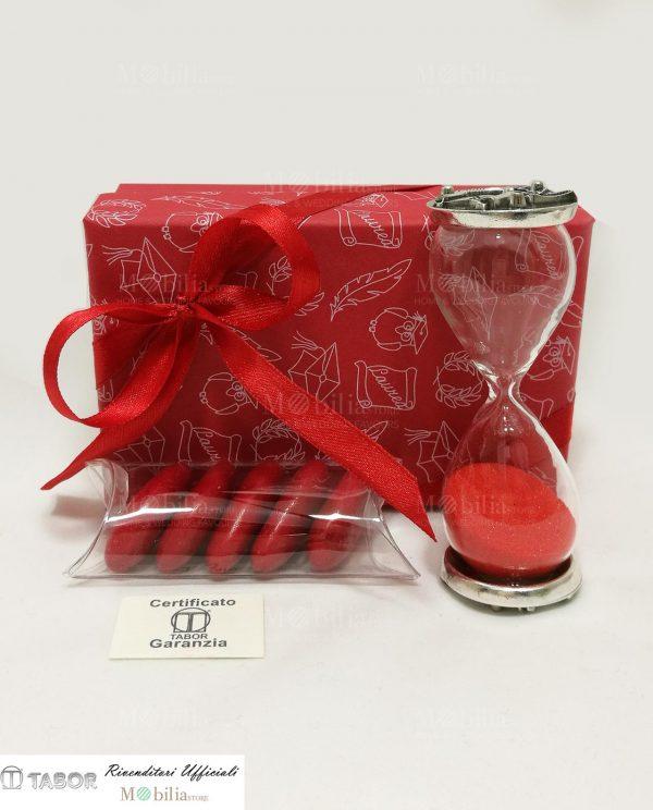 bomboniera clessidra sabbia rossa con placca argento tabor e scatola nastro rosso