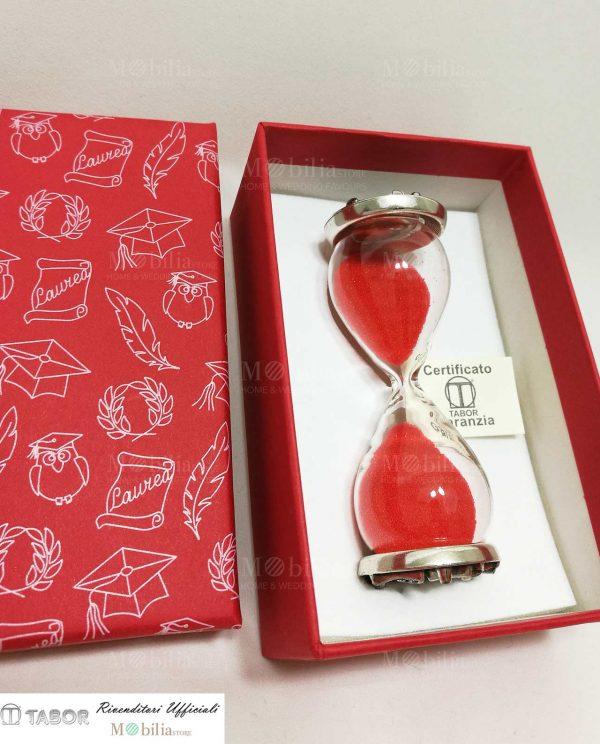 clessidra vetro sabbia rossa con placca argento tabor