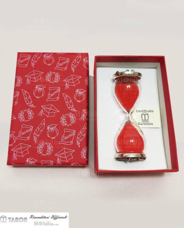 clessidra vetro con placca argento tabor con scatola rossa decorata