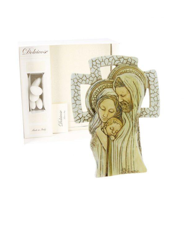 Bomboniere Croce d'appoggio Sacra Famiglia con Portaconfetti