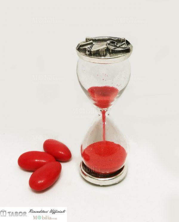 clessidra vetro con sabbia rossa e placca argento tocco pergamena e piuma tabor