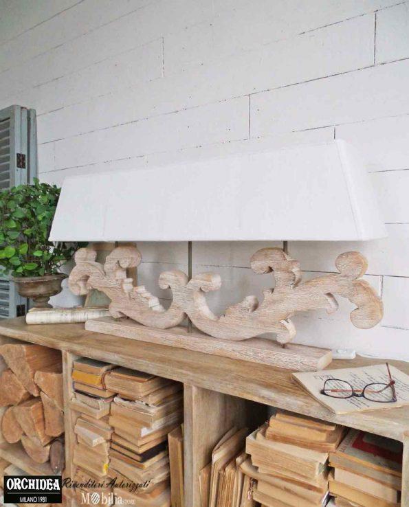 Lampada da tavolo legno tre fiamme in offerta mobiliastore for Tavolo legno bimbi