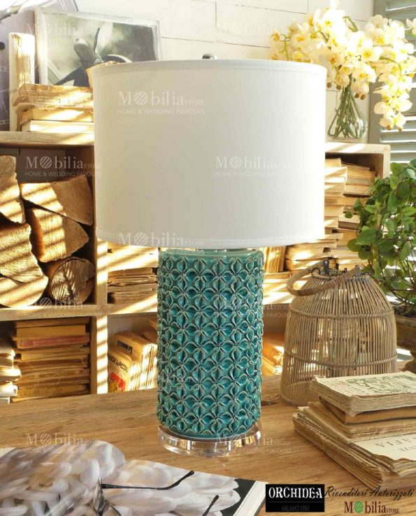 Lampada da Tavolo Moderna Verde Acqua