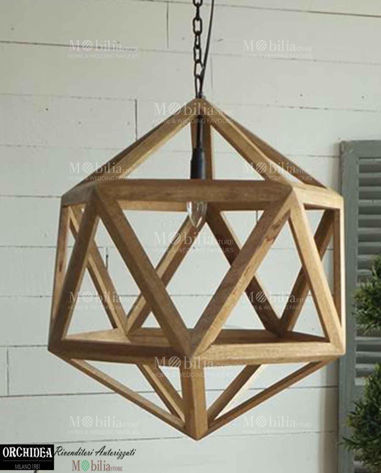 Lampadario moderno design legno in offerta -MobiliaStore