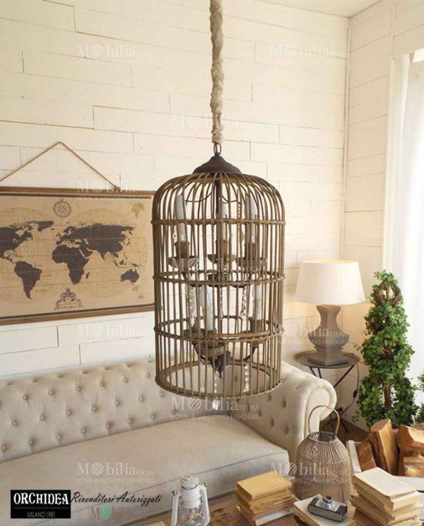 Home / Shop / Idea Regalo / Casa / Lampadario sospensione gabbia legno