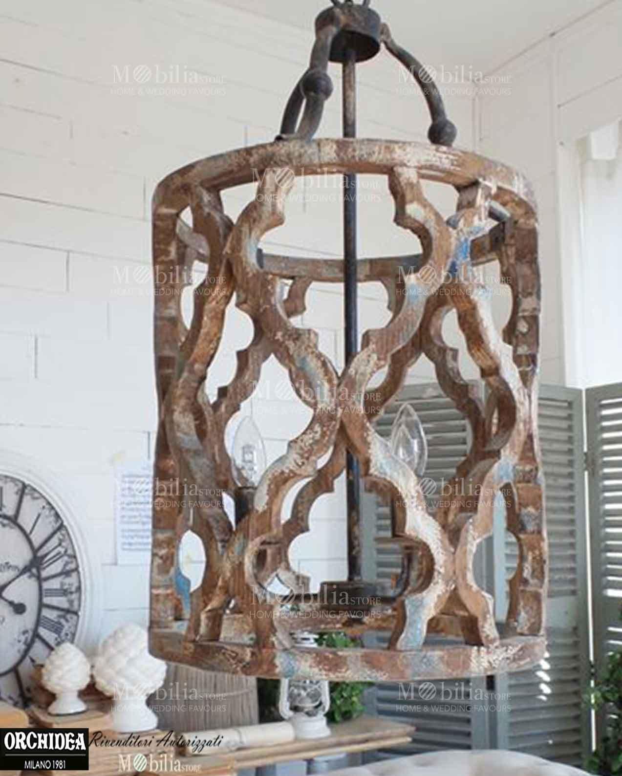 Lampadario sospensione legno decapato - MobiliaStore