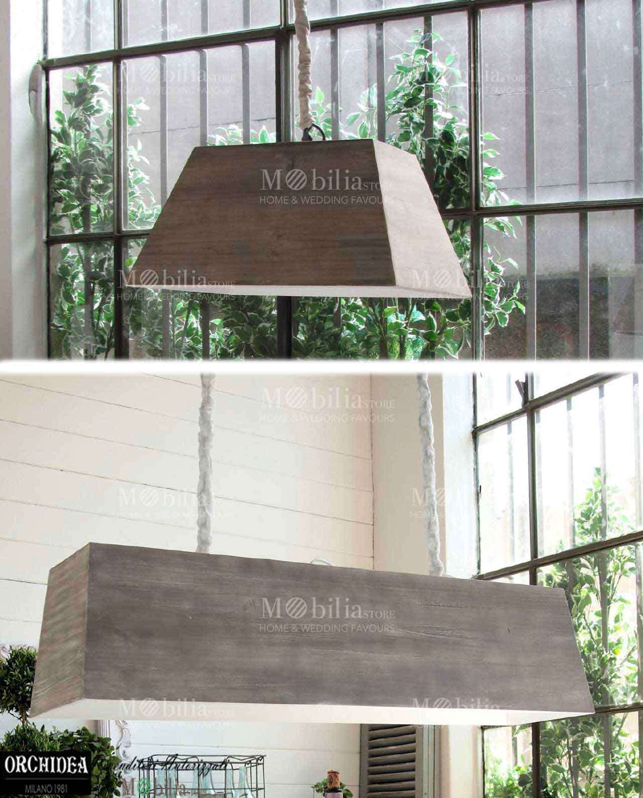 Lampadario sospensione legno stile country - MobiliaStore