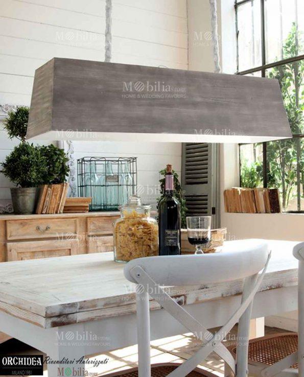 Lampadario sospensione legno stile country mobiliastore for Lampade stile country