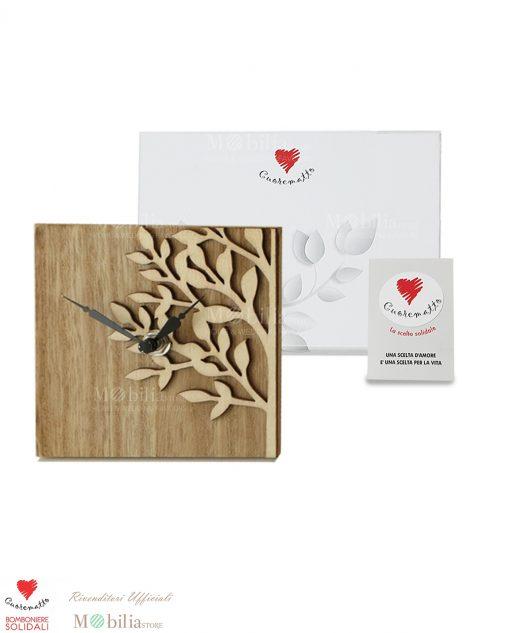 Orologio legno cuorematto albero della vita 18 x18cm senza confetti