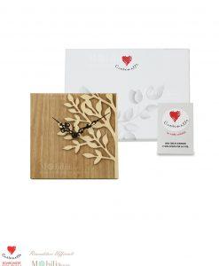 Orologio legno cuorematto linea cuoregaio 12 x12 cm