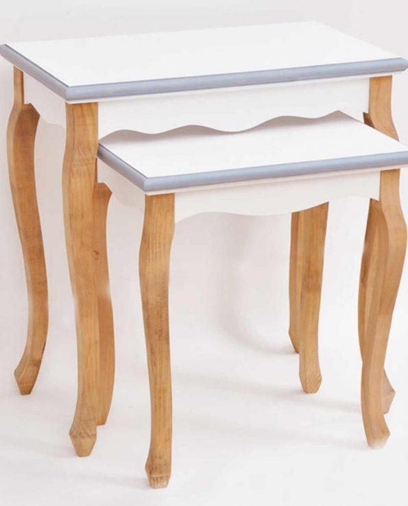 Consolle legno stile marinaro Set 2 pezzi