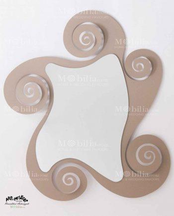 Specchio da parete con cornice spirale Arti e Mestieri