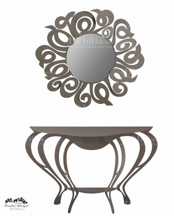 Specchio da parete con cornice decorata Arti e Mestieri