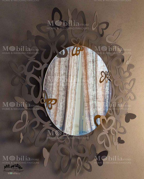 Specchio da parete con cornice farfalle Arti e Mestieri