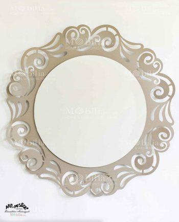 Specchio da parete con decori intagliati Arti e Mestieri