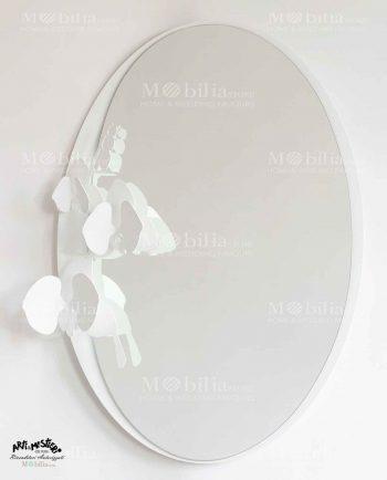 Specchio da parete con orchidee Arti e Mestieri