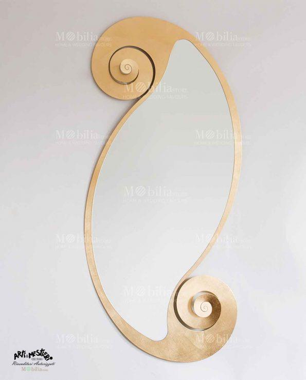 Specchio da parete ovale con cornice arricciata Arti e Mestieri