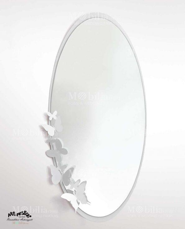 Specchio da parete ovale con cornice farfalle arti e mestieri - Specchio arti e mestieri ...