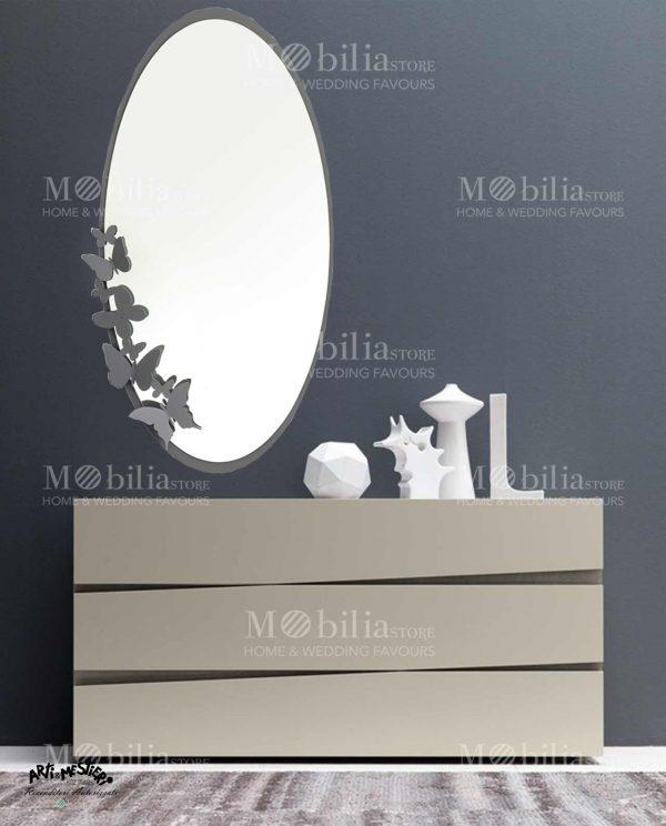Specchio da parete ovale con cornice farfalle Arti e Mestieri