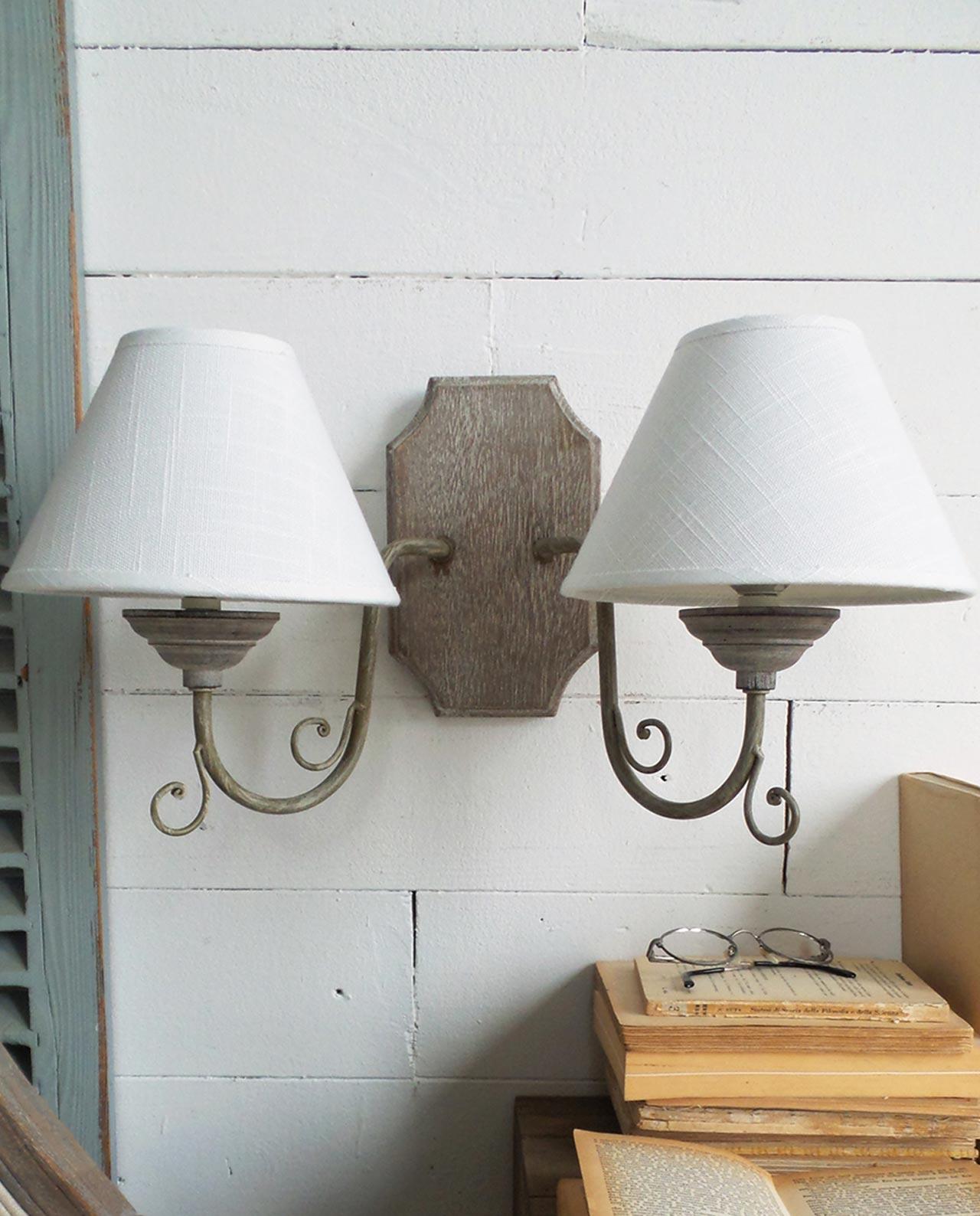 applique da parete in legno a 2 luci set 2 pz mobilia