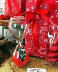 bomboniera clessidra sabbia rossa ciondolo gufo argento scatola e fiocco rosso tabor