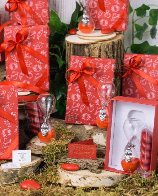 bomboniera clessidra vetro con gufo e scatola rossa tabor