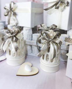 bomboniera lanterna ceramica bianca con fiocco tortora a pois bianco