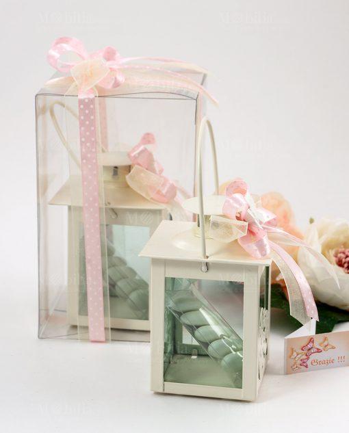 bomboniera lanterna con cuori confezione con scatola pvc