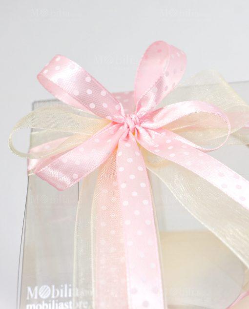 bomboniera lanterna con cuori dettaglio fiocco a 4 rosa