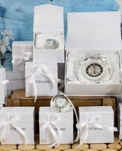 bomboniera orologi oingranaggi e numeri romani grande e piccolo cristallo ottaviani
