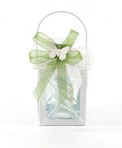 bomboniere lanterne portacandele con farfalla in gesso bianco