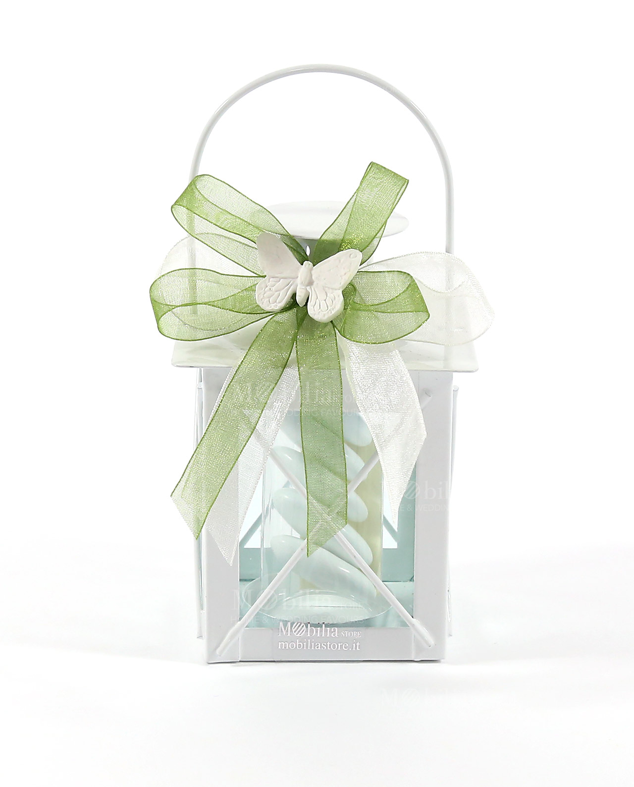 Matrimonio Tema Oro E Rosa : Bomboniera lanterna incrocio nastro verde e gessetto