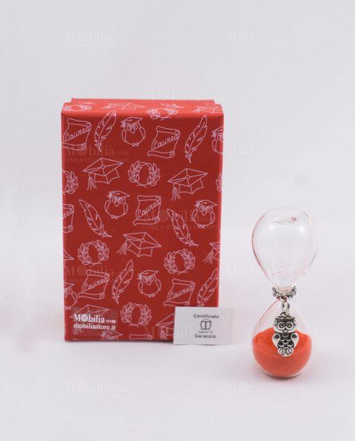clessidra vetro con sabbia rossa gufo e scatola rossa tabor