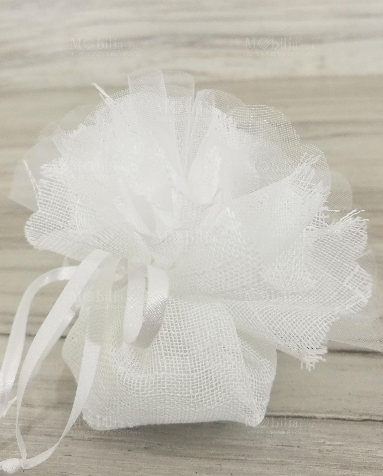 Sacchetto coton juta bordo sfrangiato bianco mobilia for Mobilia store