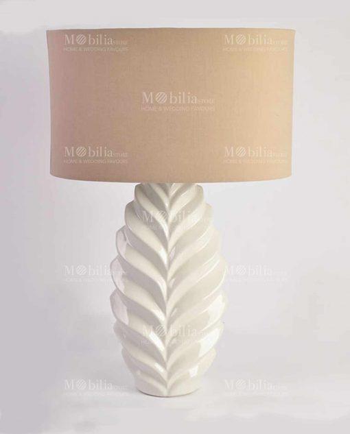 lampada da tavolo moderna con decori a spina di pesce